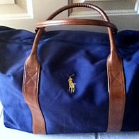 Polo Ralph Lauren Bag, Canvas & Leather Duffel Bag Logo Branded Luggage Gym Fitness Men Women Navy Blue Tan Brown Gift Designer Label Gift