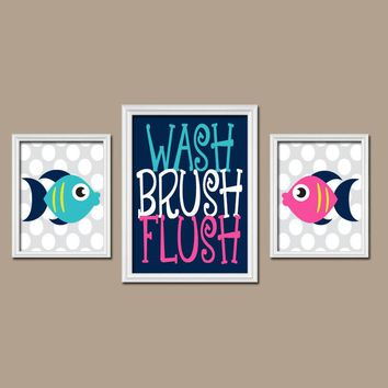 FISH BATHROOM, Fish Wall Art, Canvas or Prints, Child Bathroom, Boy Girl Bathroom, Pink Navy Nautical Bathroom Set of 3 Kid BATHROOM Rules