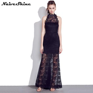 Women Elegant Sexy Lace Evening Party Dresses Off Shoulder Sleeveless Halter Backless Long Black Maxi Dress