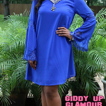 Pretty and Poised Lace Bell Sleeve Shift Dress in Royal Blue
