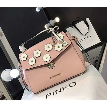 MK Popular In The World Women Shopping Leather Satchel Crossbody Cute Flower Handbag Shoulder Bag Pink I-AGG-CZDL