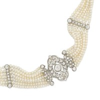 Edwardian Seed Pearl and Diamond Choker with Earrings En Suite