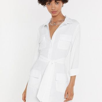 Shirt Happens Tie Mini Dress