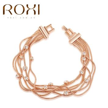 ROXI Bracelet For Women Rose Gold Color Multi-layer Chain Women Bangle Bracelet Body Jewelry Party Wedding Mother's Day Gift