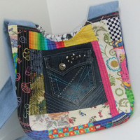 Cross Body Large purse - Large Mail Sack- made by me using patchwork and machine quilting