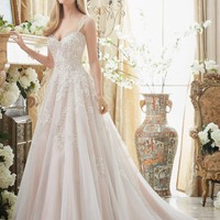 Mori Lee 2881 Tank Beaded Lace Soft Tulle Ball Gown Wedding Dress