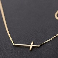SIDEWAYS CROSS + NECKLACE in gold by bythecoco on Zibbet