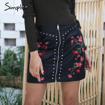Sexy floral embroidery PU leather skirt
