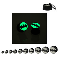 Batman Logo Glow In The Dark Acrylic Plugs