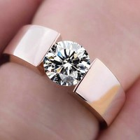 Rings Classic 18K real rose gold plated CZ diamond lovers promise