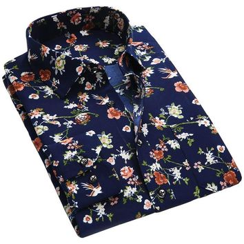 Spring Floral Print Men Shirts Long Sleeve Mens Casual Shirt Slim Men Flower Printing Dress Shirts camisa masculina