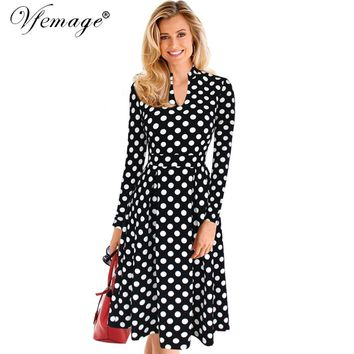 Vfemage Womens Autumn Winter Elegant Retro Polka Dot Tunic Vintage Casual Work Party Fit and Flare A-line Skater Dress 7132