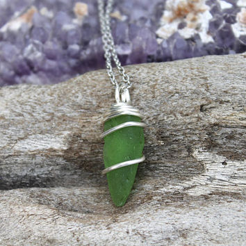 Green Seaglass Necklace - Hawaii Sea Glass Jewelry - Beach Wedding Jewelry - Ocean Inspired Mermaid Necklace Wire Wrapped Sea Glass Pendant
