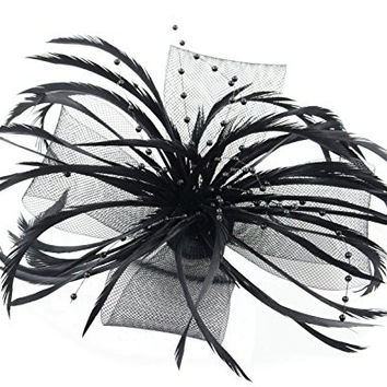 Lydia Ladies Fascinator Hair Flower Clip Pin with Beads and Feathers Tea Party Derby Wedding Accessory for Adults Women Teens (Black)
