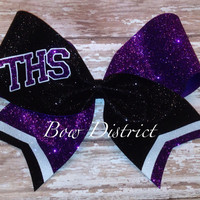 "3"" Glitter Team Cheer Bow with Tail Stripes and School Initials"