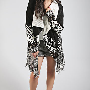 lights out aztec fringe cardigan