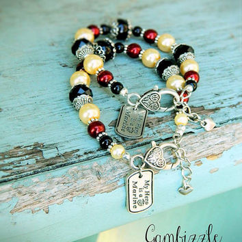 air force army navy marine coast guard wife mom sister daughter aunt girlfriend red friday beaded bracelet