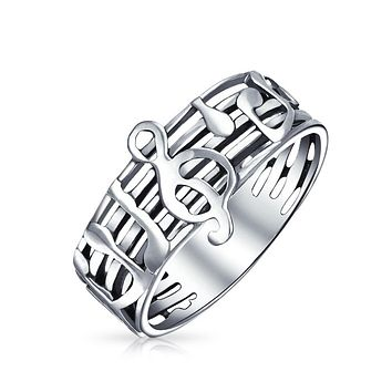 Music Bar Measure Treble Clef Note Band Ring 925 Sterling Silver