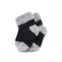 Hand Knitted Baby Socks - Black and Light Gray