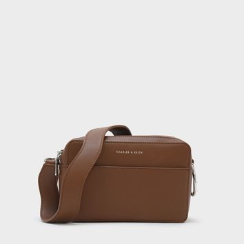 Cognac Basic Crossbody Bag|CHARLES & KEITH
