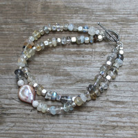Ceylon Moonstone Bracelet Labradorite Bracelet Stacking Bracelet Coin Pearl Bracelet Moonstone Jewelry Fall Style Fall Fashion FizzCandy