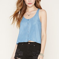 Tulip Back Chambray Top