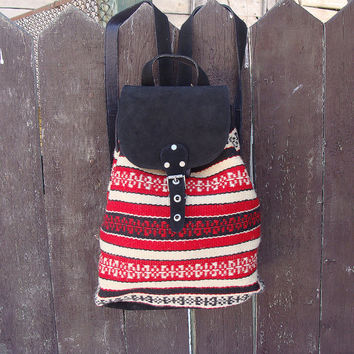 Boho backpack, handwoven wool backpack, black leather backpack, school backpack, holiday backpack, college backpack, kilim backpack
