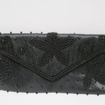 Black Glass Beaded Bag by Debbie 1980s Formal Evening Purse made in Japan.