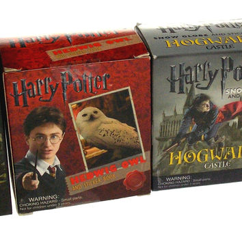 Set of 4 Harry Potter Hedwig Owl Horcrux Locket Hogwarts Castle Voldemorts Wand