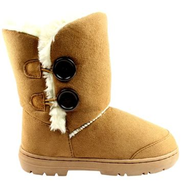 Womens Twin Button Fully Fur Lined Wa...