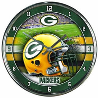 Green Bay Packers NFL Chrome Round Clock