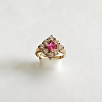 Beautiful Faceted Square Vibrant Pink CZ Surrounded by 8 Faceted Clear CZ's set in Sterling Silver with Vermeil Finish, Approximate Size 10