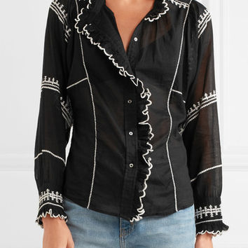 Isabel Marant Étoile - Lauryn embroidered cotton-voile blouse