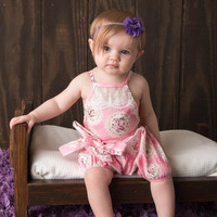 Country Girl Vintage Lace Bubble Romper Pink Floral - Infant & Baby Sizes!