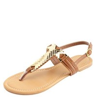 GOLDEN CHEVRON-PLATED T-STRAP THONG SANDALS