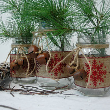 Red Sparkly Snowflakes Christmas decor set of 3 Mason Jars, Christmas table decor, Christmas decorations, Holiday decorations
