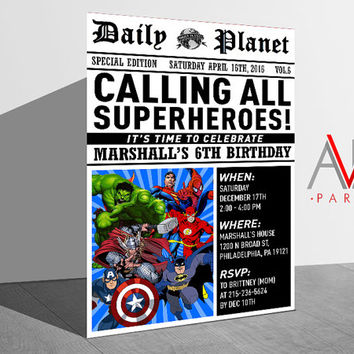 Superheroes Birthday Invitation, Superheroes Birthday, Superheroes Invitation, Superheroes Party, Superheroes