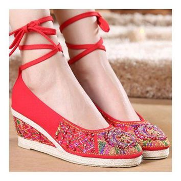 Old Beijing Cloth Embroidered Shoes Beads   red