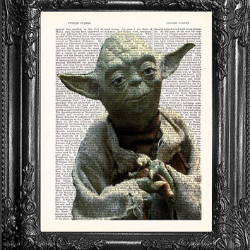 Gift Poster YODA-Star Wars Art-Movie Art Dictionary Print Page Art Home Wall Decor- Antique Book Page-Print On Dictionary Page-Dorm Decor