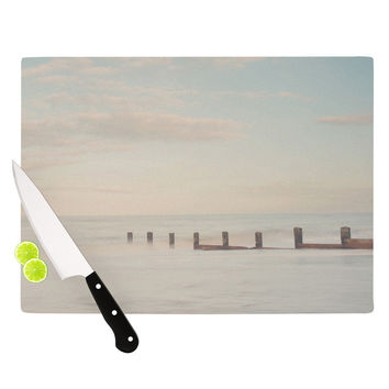 "Laura Evans ""The Rising Tide"" Brown Gray Cutting Board"