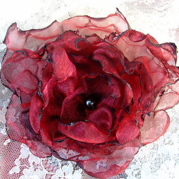 Dark Red Organza Flower Hair Clip by OurPlaceToNest on Etsy