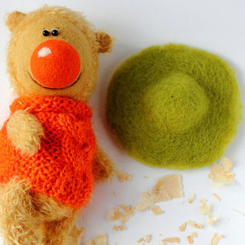 Artist Teddy Bear- Mandarin - OOAK toy - Animal - wheaten, orange, green colors - Mohair  Teddy Bear - Gift- Collectible bear