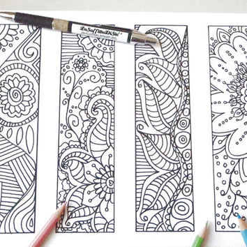 bookmark doodle henna coloring henna tattoo page markers printable gift school readers book lover colouring download print lasoffittadiste