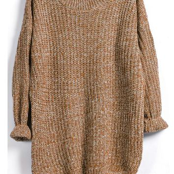 Khaki Marled Knit Jumper With A Dip Hem