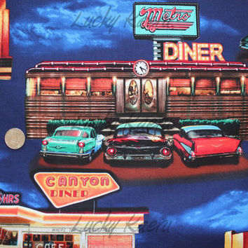 Timeless Treasures, Route 66 Diners Classic Cars in Midnight Fabric - By the Yard