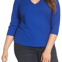 REBEL WILSON X ANGELS Choker V-Neck Ribbed Top (Plus Size) | Nordstrom