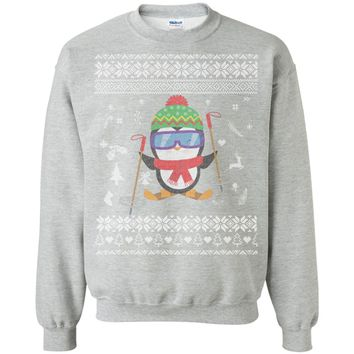 Penguin Skiing Ugly Christmas Sweater G180 Gildan Crewneck Pullover Sweatshirt  8 oz.