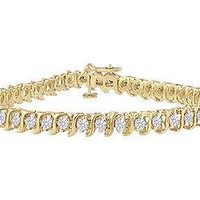 Diamond S Tennis Bracelet : 14K Yellow Gold - 2.00 CT Diamonds