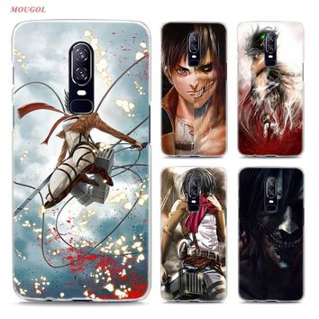 Cool Attack on Titan Transparent Hard Case For Oneplus 6  Anime Printing Drawing Hard Phone Cases Cover For Oneplus 6 AT_90_11