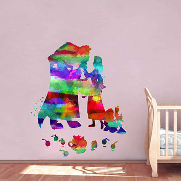 kcik2160 Full Color Wall decal Watercolor Character Disney Belle Beauty and the Beast children's room Sticker Disney